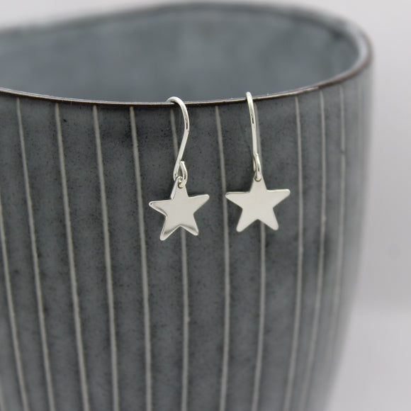 Sterling Silver Small Star Drop Earrings