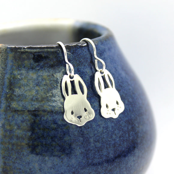 Sterling Silver Bunny Rabbit Drop Earrings