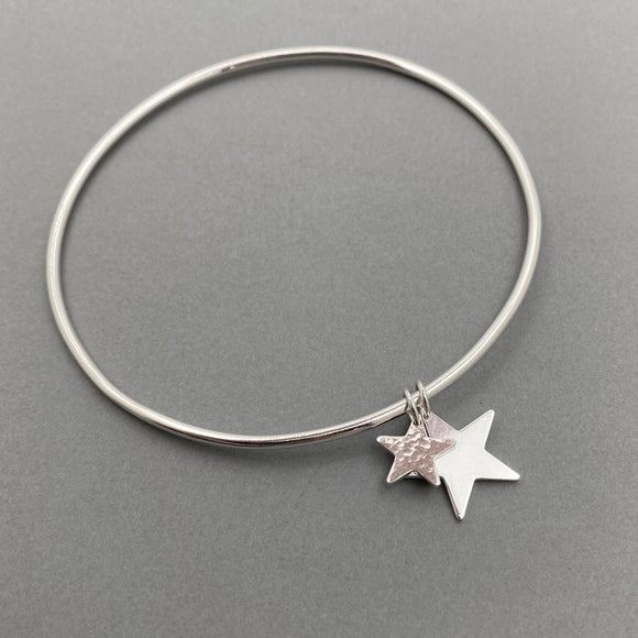Sterling Silver Double Star Charm Bangle