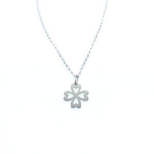 Sterling Silver Heart Flower Pendant