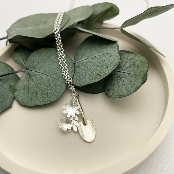 Sterling Silver Gardeners Flowers and Hand Trowel Charm Pendant