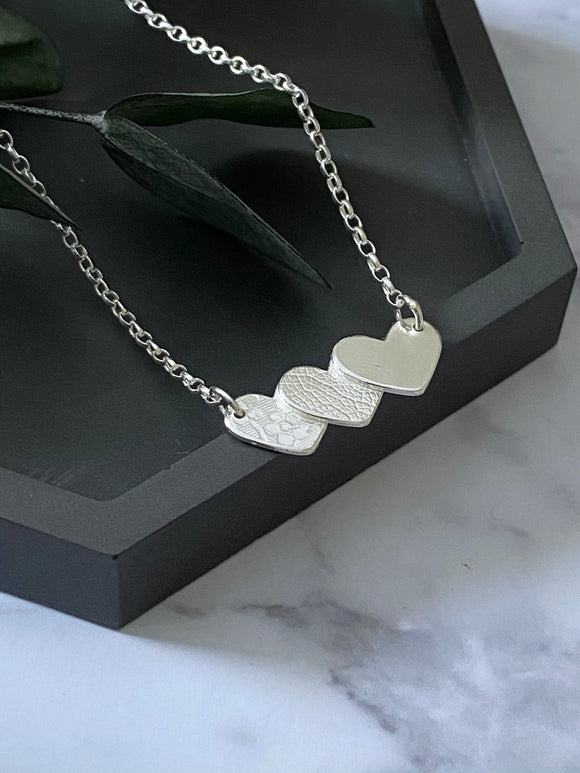 Sterling Silver Small Triple Textured Hearts  Necklace 2