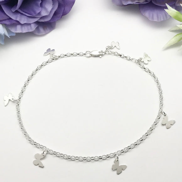 Sterling Silver Butterflies Anklet