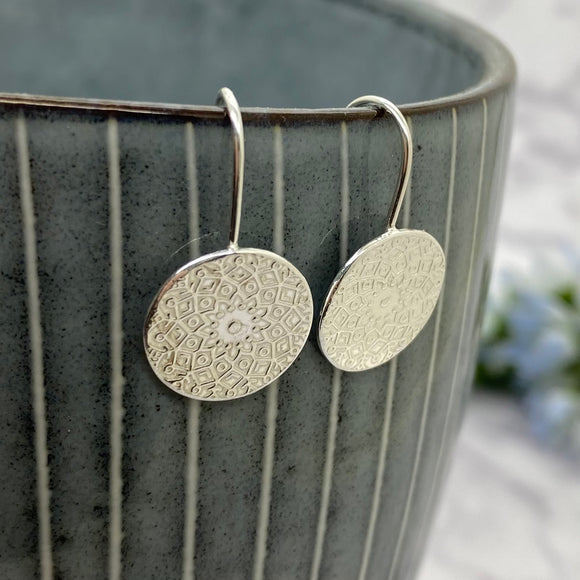 Sterling Silver Mandala Drop Earrings