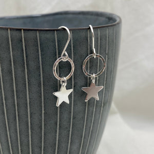 Sterling Silver Circle Star Drop Earrings