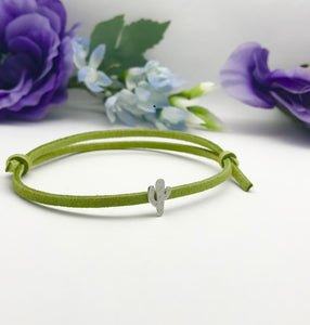 Sterling Silver Cactus Faux Suede Adjustable Bracelet
