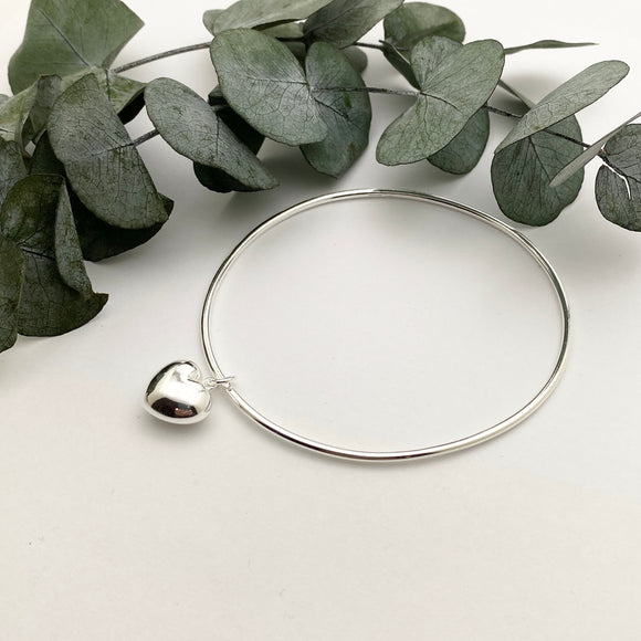 Sterling Silver 3D Heart Charm Bangle