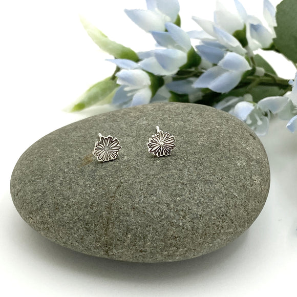 Sterling Silver Hand Stamped Daisy Stud Earrings