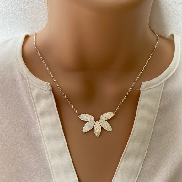 Sterling Silver Leaves Necklace