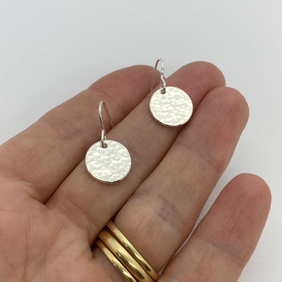 Sterling Silver Sparkly Disc Drop Earrings