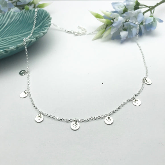 Sterling Silver Heart Stamped Disc Necklace