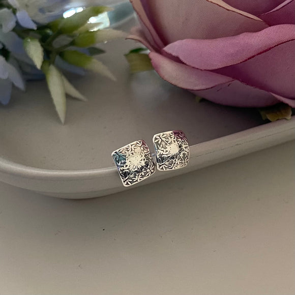 Sterling Silver Floral Square Earrings