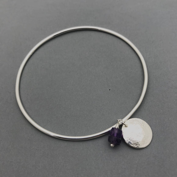 Sterling Silver Amethyst and Moon Charm Bangle