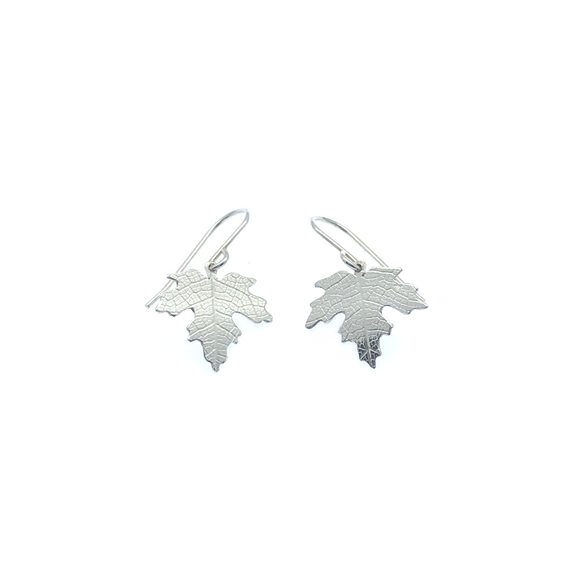 Sterling Silver Maple Leaf Drop Earrings