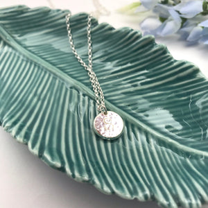 Sterling Silver Personalised Sparkly Pebble Pendant