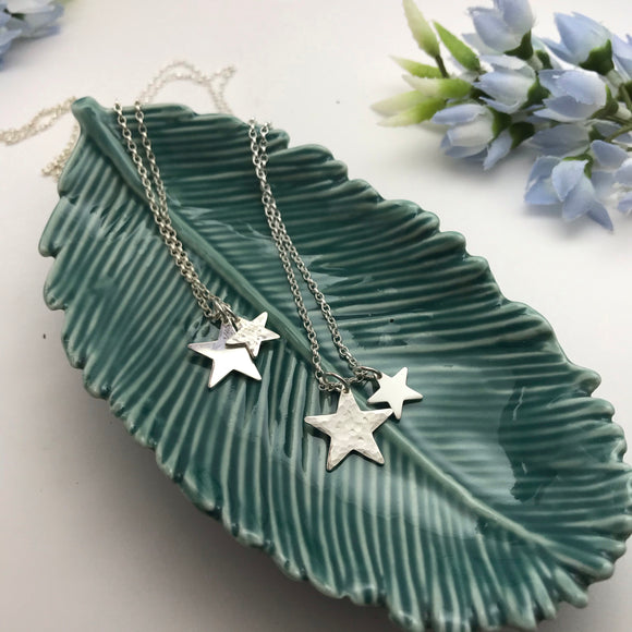 Sterling Silver Double Star Pendant