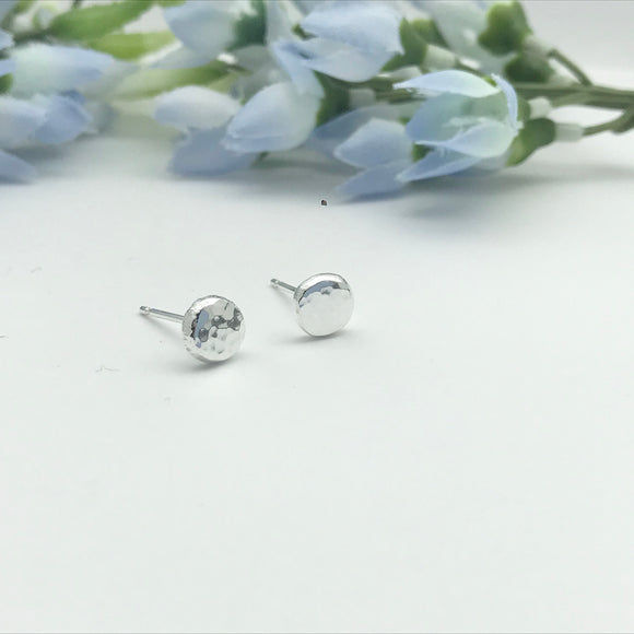 Sterling Silver Sparkly Pebble Stud Earrings