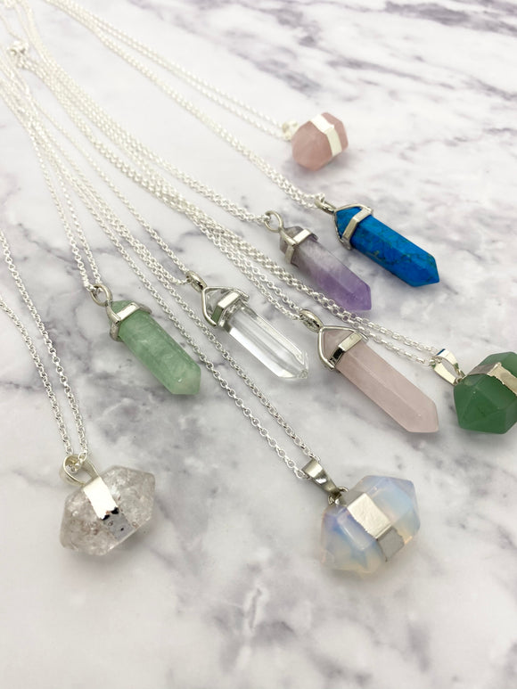 Semi Precious Gemstone Point Pendants