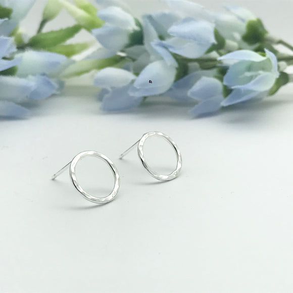 Sterling Silver Sparkly Circle Stud Earrings
