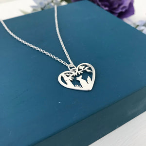 Sterling Silver Fox Heart Pendant