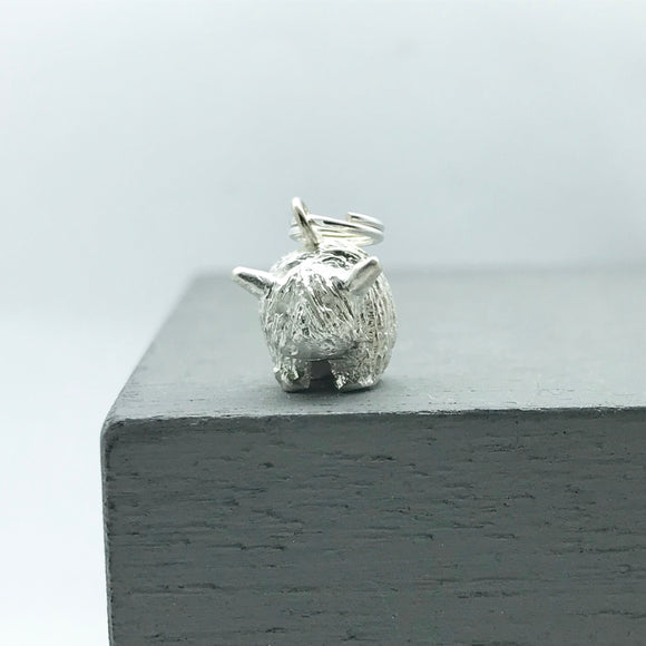 Silver Highland Cow Charm