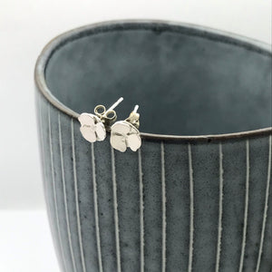 Sterling Silver Pansy Flower Stud Earrings