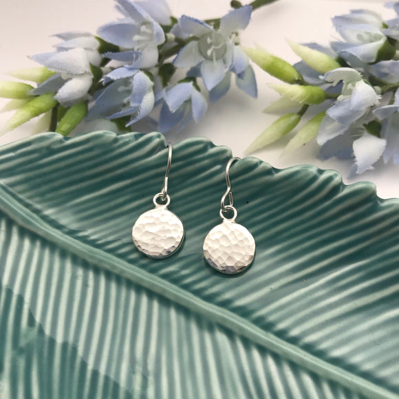Sterling Silver Sparkly Pebble Drop Earrings