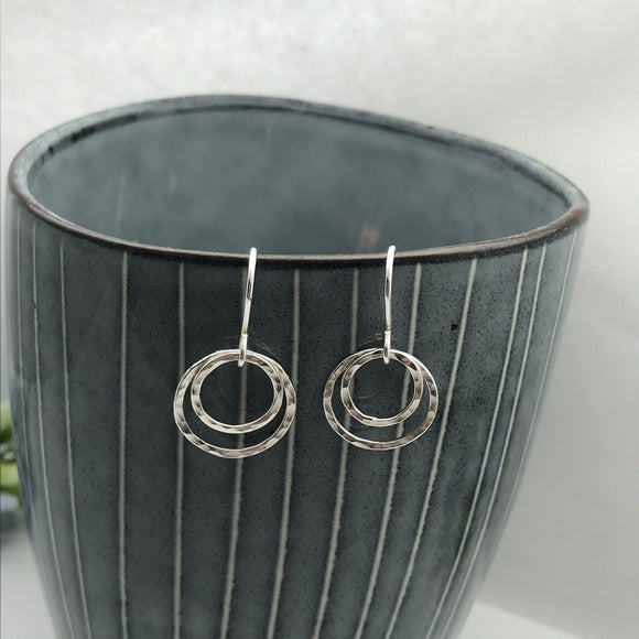 Sterling Silver Small Double Hoop Drop Earrings