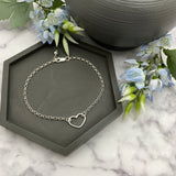 Sterling Silver Small Heart Link Bracelet