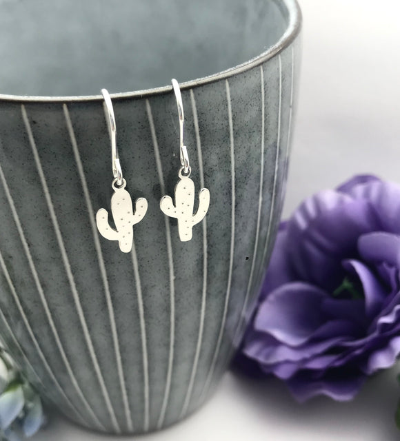 Sterling Silver Cactus Drop Earrings