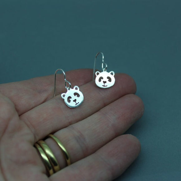 Sterling Silver Panda Drop Earrings