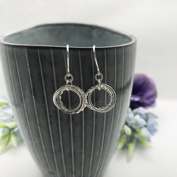 Sterling Silver Triple Hoop Drop Earrings