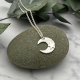 Sterling Silver Textured Moon and Stars Pendant