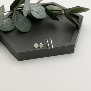 Sterling Silver Dot and Dash Stud Earrings