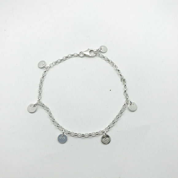 Sterling Silver Heart Stamped Disc Bracelet