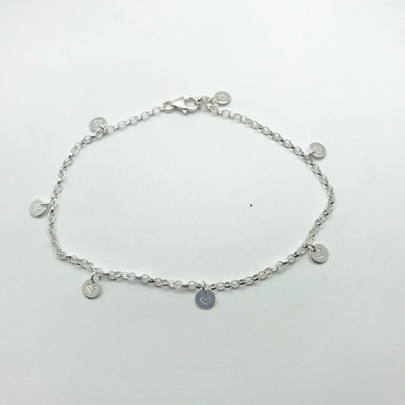 Sterling Silver Heart Stamped Discs Anklet
