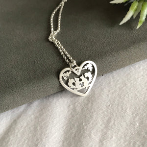 Sterling Silver Squirrels Heart Pendant