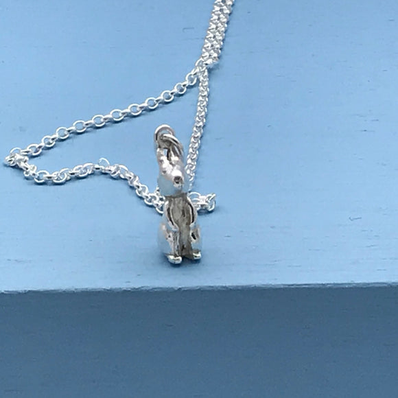 Sterling Silver Standing Bunny Rabbit Pendant
