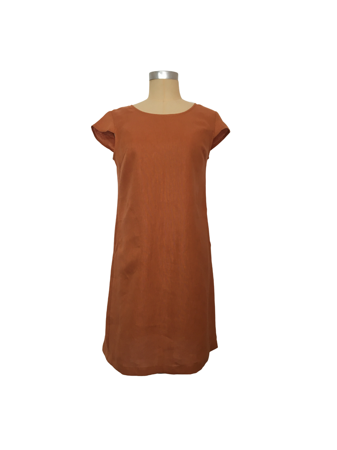 Linen Shift Dress - Rust