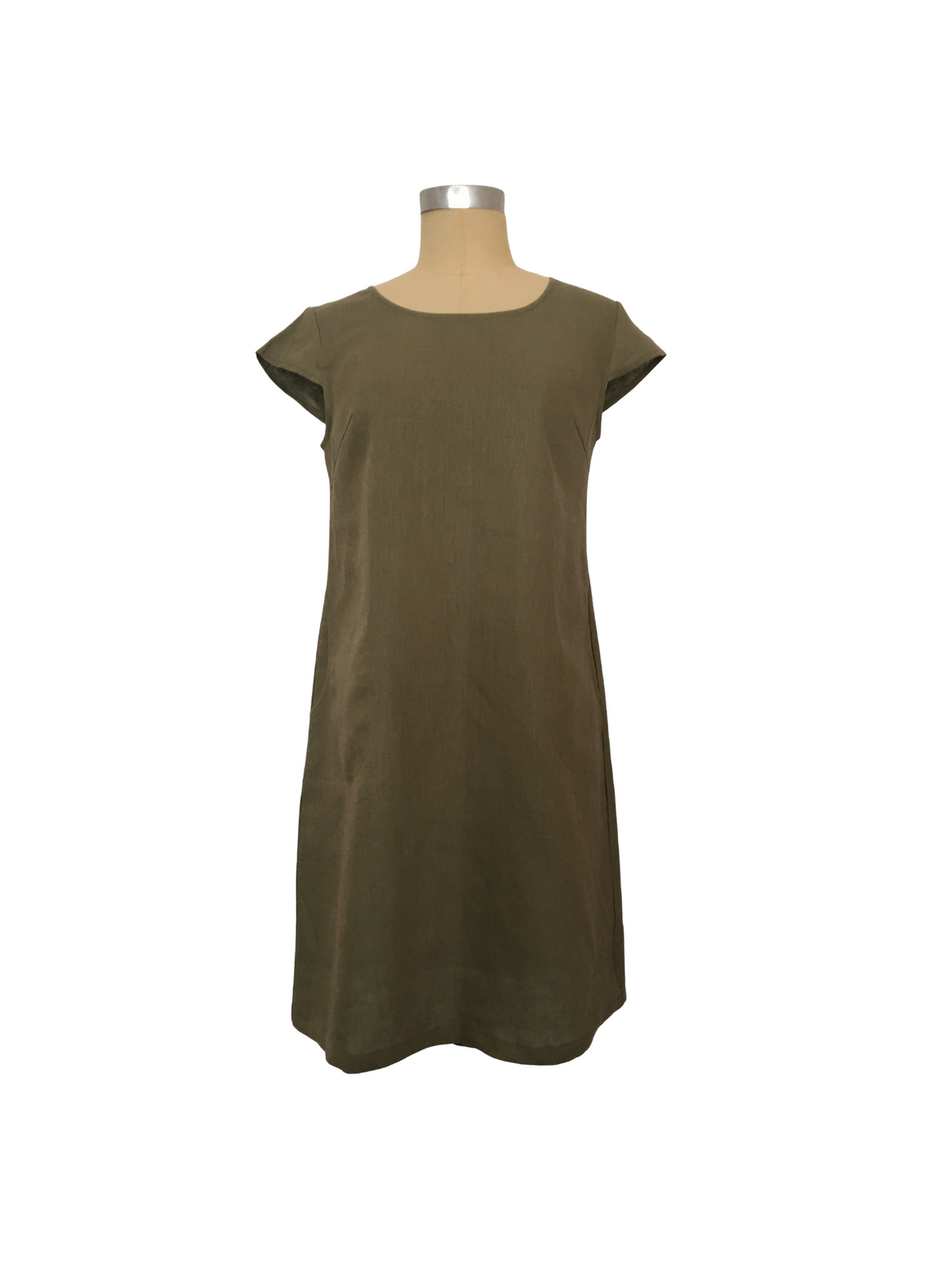 Linen Shift Dress - Olive