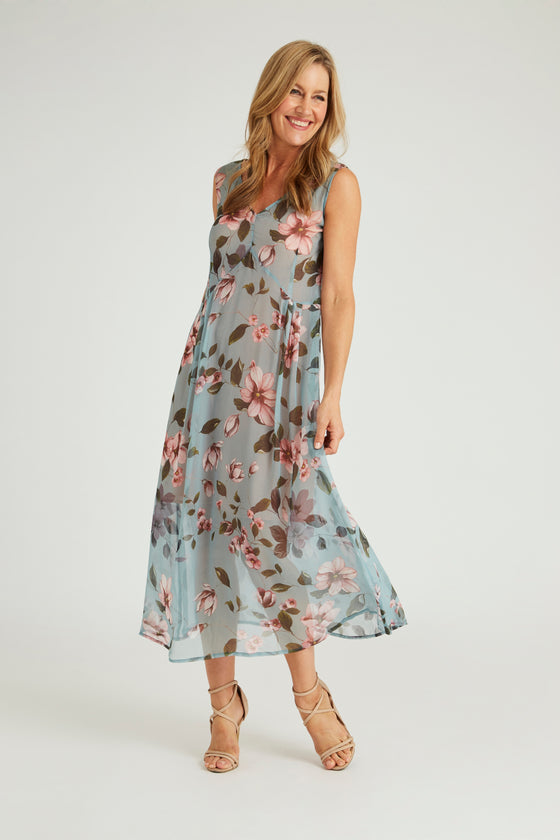 Silk Maxi Dress - Blue Garden