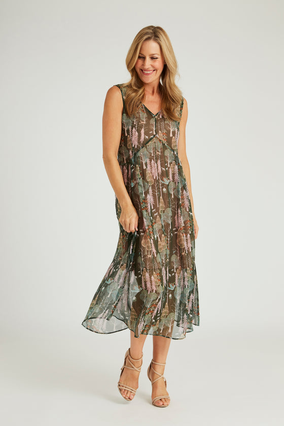 Silk Maxi Dress - Whispering Pines