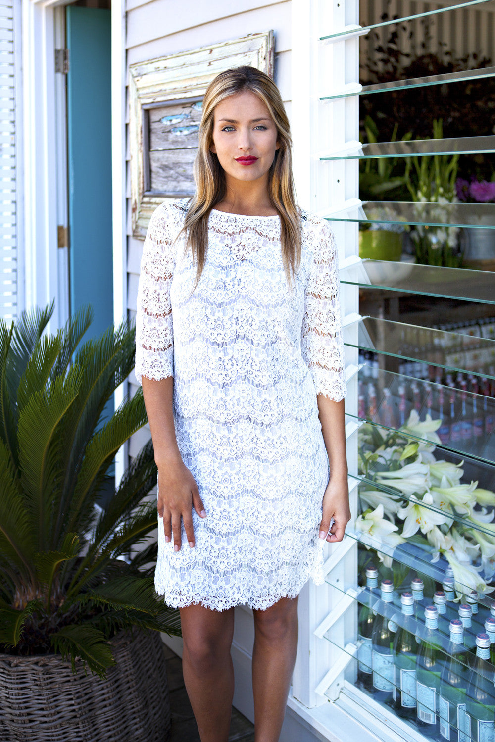 White Lace Dress - Silk Lined