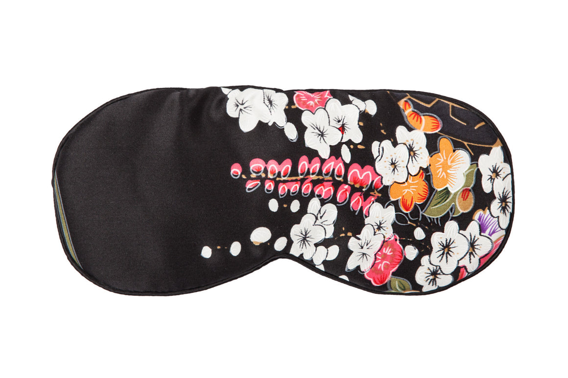 Silk Sleeping Mask - Black & White Floral