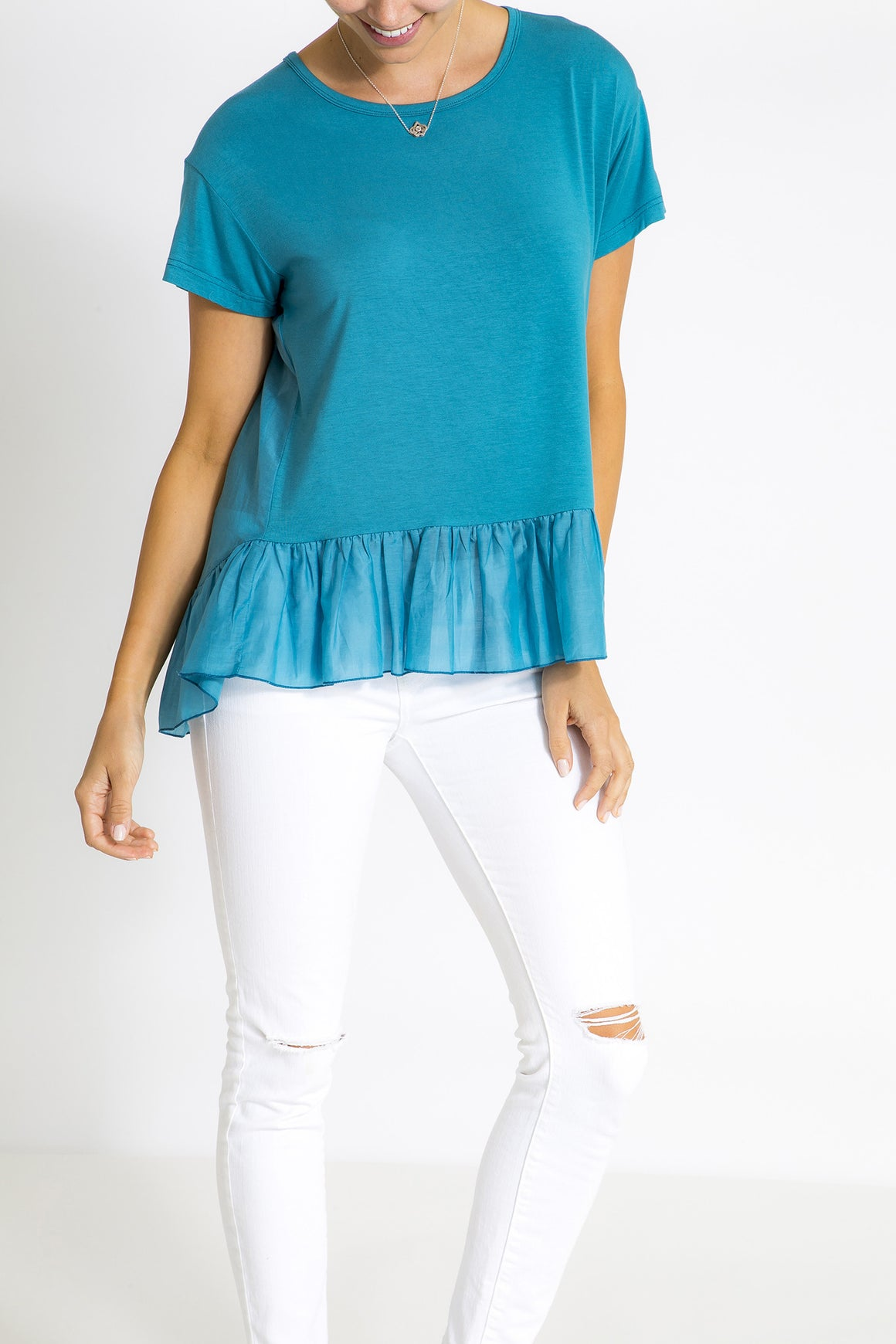 Ruffle Top - Peacock Blue