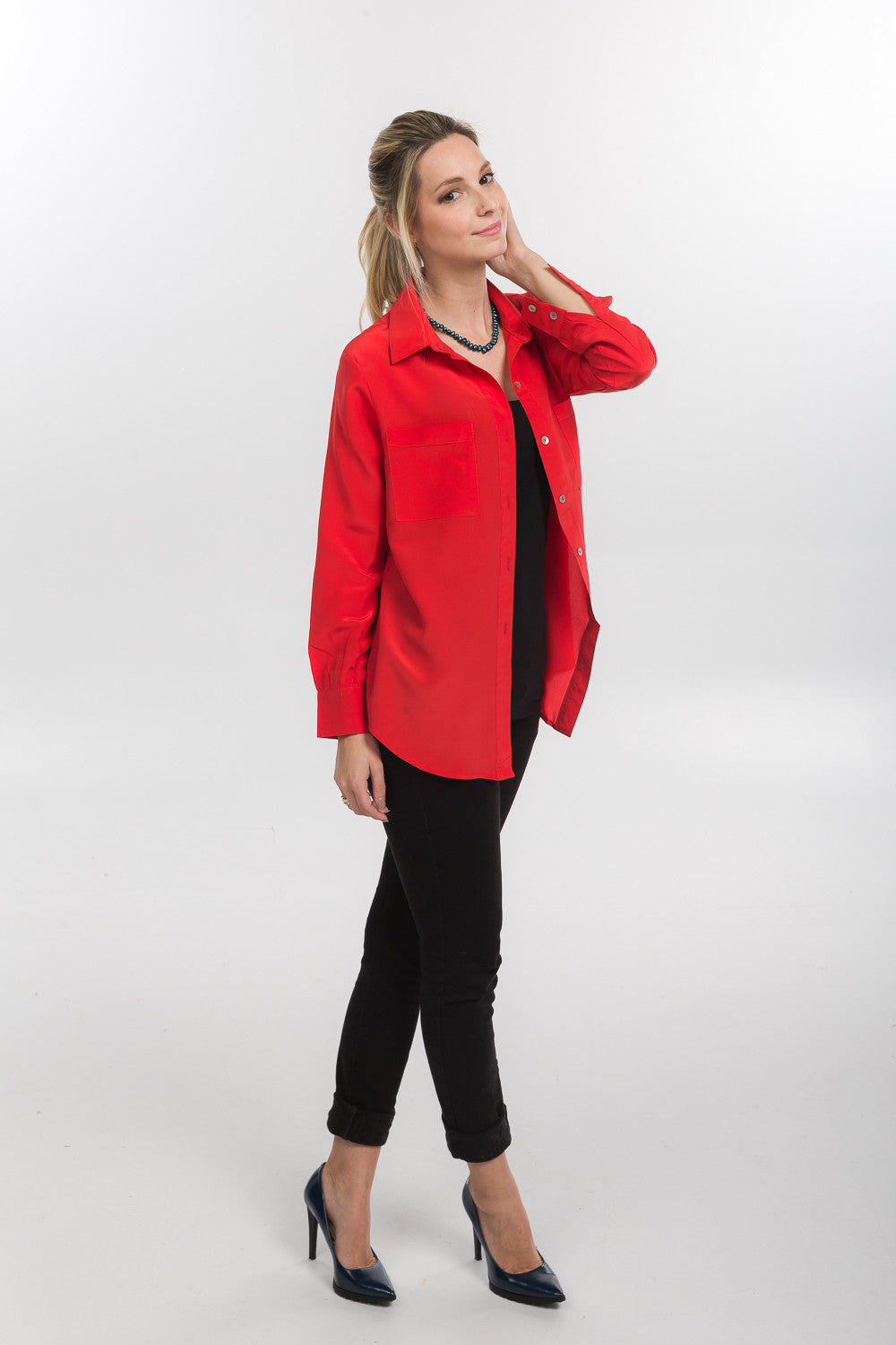 Silk Shirt - Coral Red