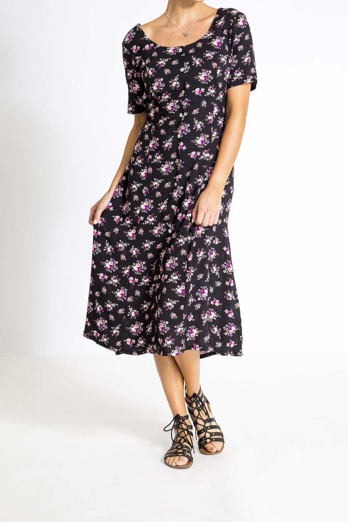 Summer Days Dress - Black Roses