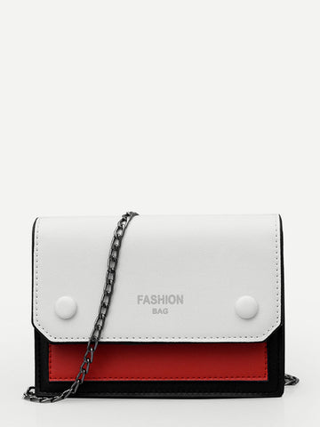 Colorblock Flap PU Bag
