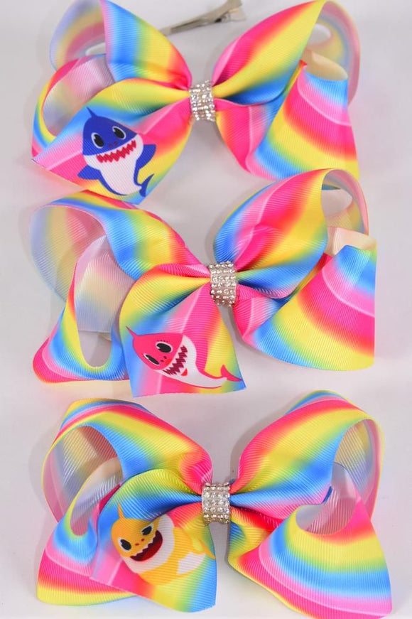 Jumbo Rainbow Tiedye Shark Hair Bow