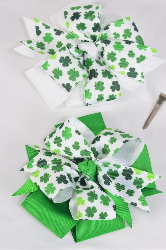 Jumbo Shamrock Double Layered Hair Bow
